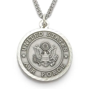 Sterling Silver Philippians 4:13 Air Force Medallion | US Military Seal Necklace