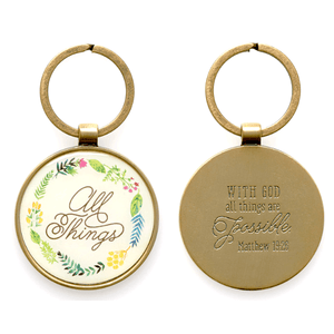 With God All Things are Possible Keychain | Matthew 19:26 | Gift Packaged