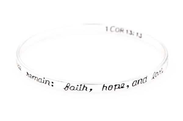 Sterling Silver Scripture Verse Bangle Bracelet | 1 Corinthians 13:13 | Faith Hope Love