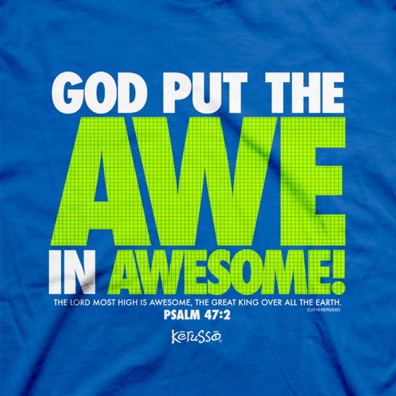 God Put the Awe in Awesome | Kerusso Kids Christian T-Shirt | Youth Sizes