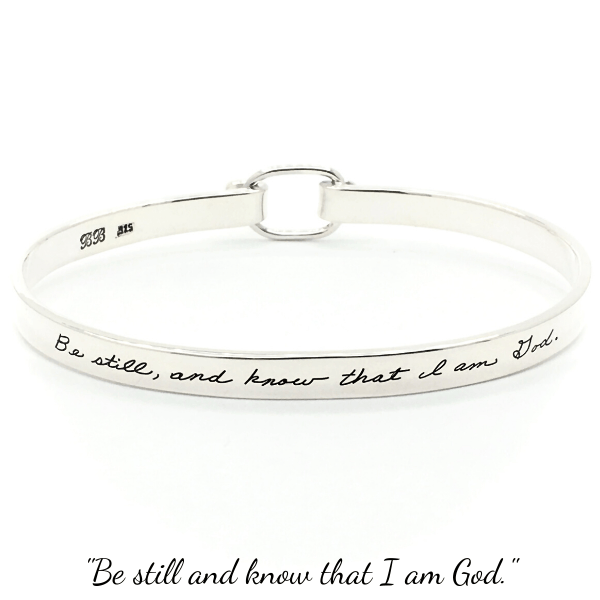 BB Becker Sterling Silver Psalm 46:10 Bracelet | Be Still and Know That I Am God