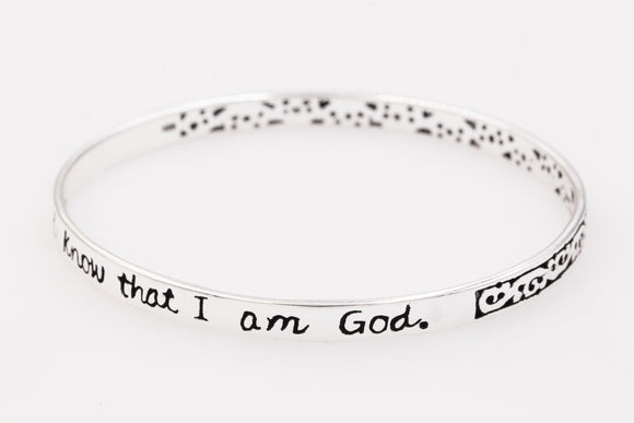 Sterling Silver Scripture Verse Bangle Bracelet | Psalm 46:10 | Be Still and Know That I Am God