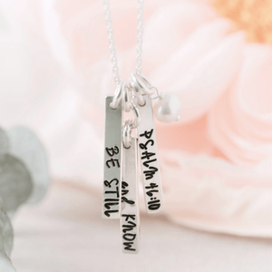 Sterling Silver Be Still & Know Vertical Bar Necklace | Psalm 46:10