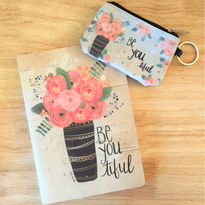 Coordinating Be-You-Tiful Inspirational Journal & ID Keychain
