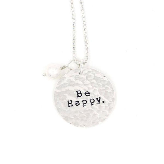Sterling Silver Hand-Stamped Necklace | Be Happy