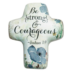 Strong and Courageous Artful Cross Pocket Token | Joshua 1:9