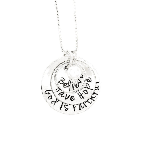 Sterling Silver Hand-Stamped Necklace | Believe - Have Hope - God is Faithful