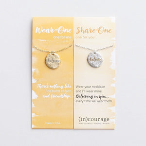 Believe (In) Courage Necklace Set | Wear One Share One | Romans 8:28