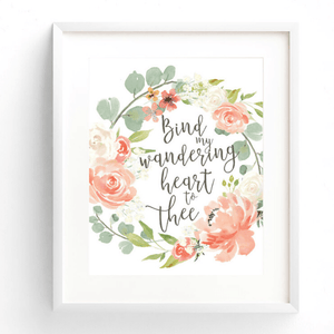Bind My Wandering Heart to Thee Christian Hymn Watercolor Art Print
