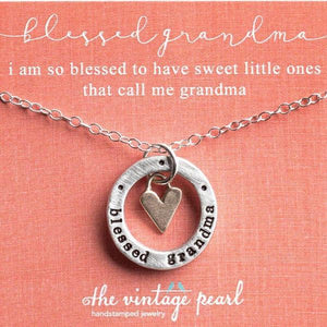 Blessed Grandma Bronze Heart Charm Fine Pewter Necklace | The Vintage Pearl