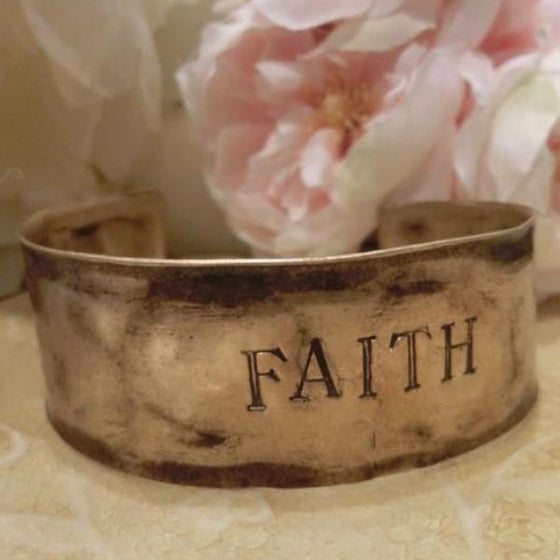 Hammered Antiqued Solid Brass Inspirational Cuff Bracelet - Faith - Clothed with Truth