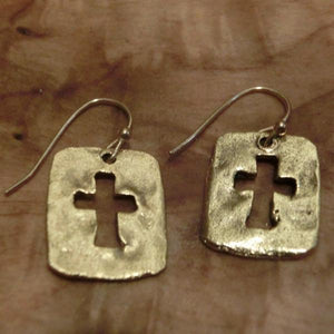 Antiqued Gold-Tone Pewter Cutout Cross Earrings - Clothed with Truth