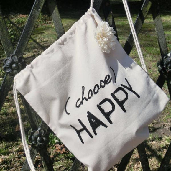 Natural Cotton Drawstring Tote Bag | Choose Happy