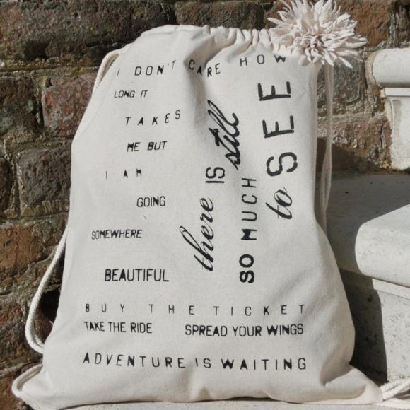 Natural Cotton Drawstring Tote Bag | Adventure is Waiting