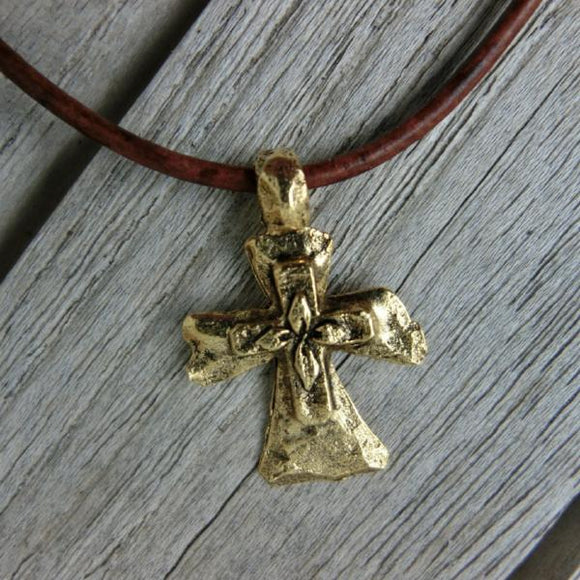 Antiqued Gold-Tone Pewter Stacked Cross Necklace - Clothed with Truth