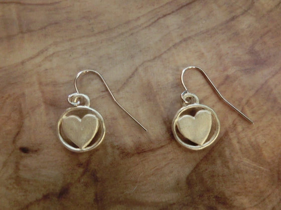 Handcrafted Gold-Tone Pewter Earrings - Dainty Hearts - Clothed with Truth