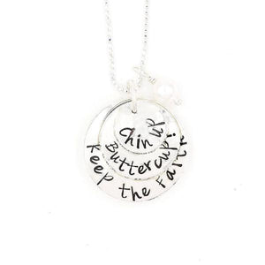 Sterling Silver Hand-Stamped Necklace | Chin Up - Buttercup - Keep the Faith
