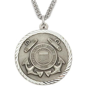Sterling Silver St. Michael Coast Guard Medallion | US Military Seal Necklace