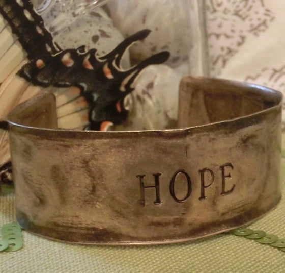 Hammered Antiqued Solid Brass Inspirational Cuff Bracelet - Hope - Clothed with Truth