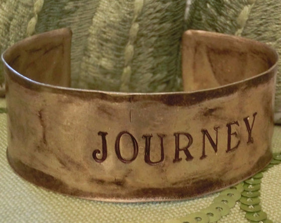 Hammered Antiqued Solid Brass Inspirational Cuff Bracelet - Journey - Clothed with Truth