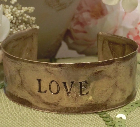 Hammered Antiqued Solid Brass Inspirational Cuff Bracelet - Love - Clothed with Truth