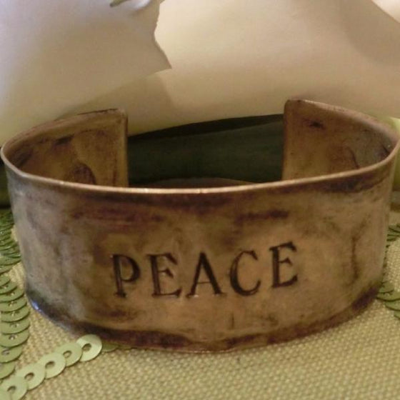 Hammered Antiqued Solid Brass Inspirational Cuff Bracelet - Peace - Clothed with Truth