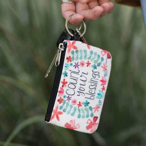 Count Your Blessings Coin Purse ID Wallet Keychain