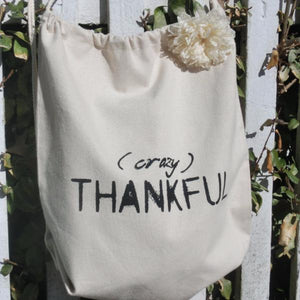 Crazy thankful canvas drawstring tote bag