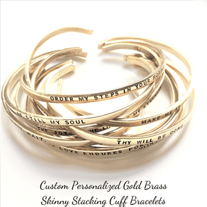 "Gold Brass Hand-Stamped Personalized Skinny Cuff Bracelet | 1/8"" Wide"