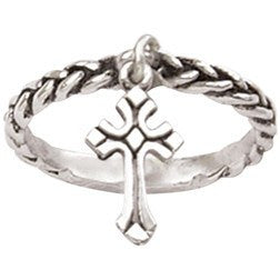 Sterling Silver Ladies Christian Cross Ring - Dangle Cross Charm