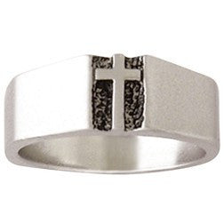 Sterling Silver Men's Cross Christian Ring - Traditional Deacon