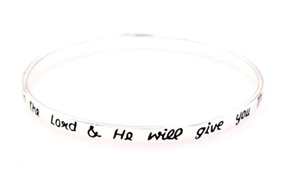 Sterling Silver Scripture Verse Bangle Bracelet | Psalm 37:4 | Delight Yourself in the Lord
