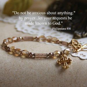 Swarovski Crystal Scripture Verse Bracelet | Do Not Be Anxious | Philippians 4:6