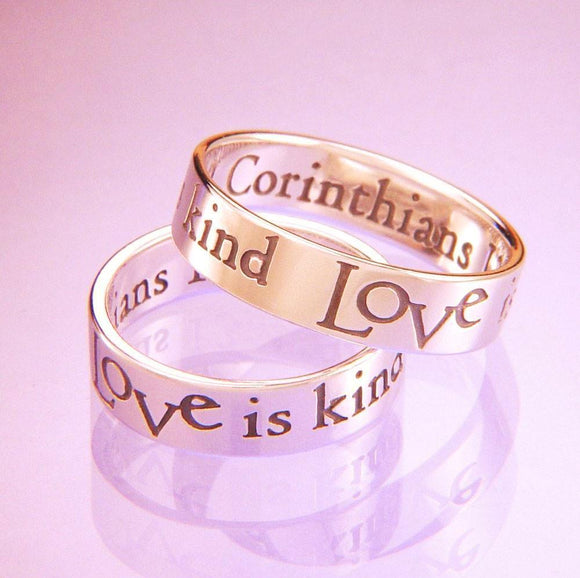 14k Gold 1 Corinthians 13 Ring | Love is Kind | White or Yellow Gold