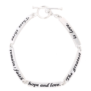 Faith, Hope, Love Sterling Silver Link Bracelet | 1 Corinthians 13:13