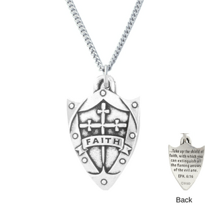 Handcrafted Fine Pewter Faith Shield Necklace | Ephesians 6:16
