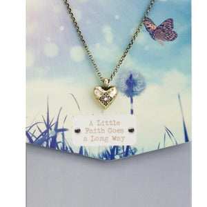 A Little Faith Goes A Long Way Story Heart Necklace
