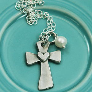 The Vintage Pearl Pewter Necklace | Faithful Love Token | Cross & Heart
