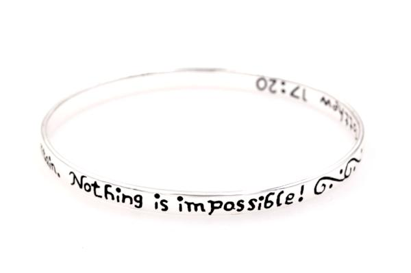 Sterling Silver Scripture Verse Bangle Bracelet | Mustard Seed Faith