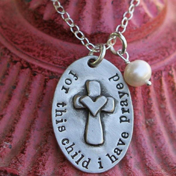 The Vintage Pearl Hand-Stamped Necklace | For This Child I Have Prayed