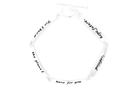 Sterling Silver Scripture Verse Link Bracelet | Jeremiah 29:11 | For I Know the Plans I Have For You