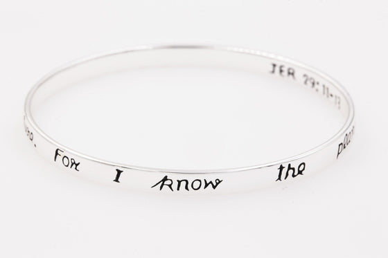 Sterling Silver Scripture Verse Bangle Bracelet | Jeremiah 29:11-13 | For I Know the Plans I Have for You