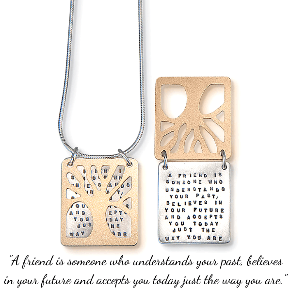 Sterling Silver Kathy Bransfield Friendship Necklace | A Friend is Someone Who...