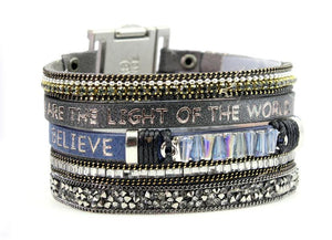 Multi-Strand Genuine Leather Scripture Verse Bracelets | Choose Your Verse | Genesis Come Together