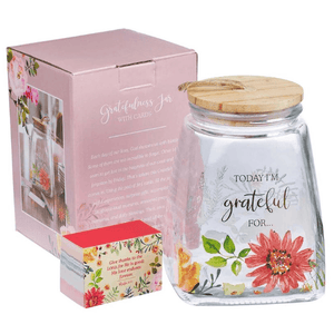 Glass Gratitude Jar with 365 Scripture Verse Cards