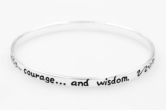 Sterling Silver Inspirational Prayer Bangle Bracelet | Serenity Prayer