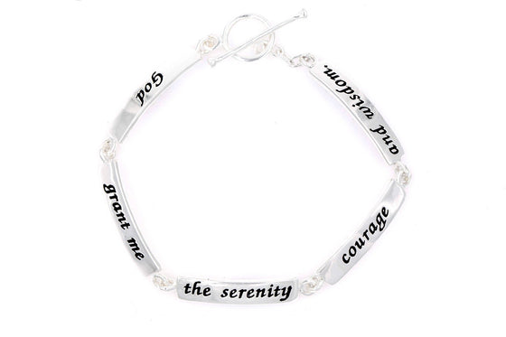Serenity Prayer | Sterling Silver Link Bracelet | God Grant Me the Serenity, Courage, and Wisdom