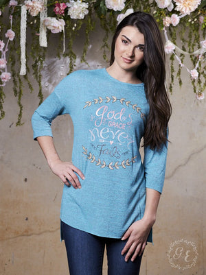 God's Grace Never Fails Long Sleeve Christian Tee | Southern Grace