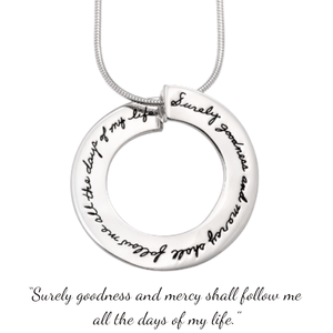 Goodness Circle Sterling Silver Necklace | Psalm 23:6 | BB Becker