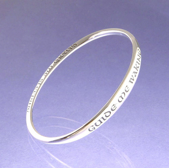 Sterling Silver Prayer Bracelet | Guide Me Waking | Mobius Bangle Bracelet